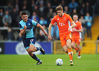 Blackpool's Will Aimson under pressure from Wycombe Wanderers' Luke O'Nien<br /> <br /> Photographer Kevin Barnes/CameraSport<br /> <br /> The EFL Sky Bet League Two - Wycombe Wanderers v Blackpool - Saturday 11th March 2017 - Adams Park - Wycombe<br /> <br /> World Copyright &copy; 2017 CameraSport. All rights reserved. 43 Linden Ave. Countesthorpe. Leicester. England. LE8 5PG - Tel: +44 (0) 116 277 4147 - admin@camerasport.com - www.camerasport.com