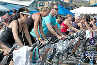 One hundred cyclist spin at the Santa Monica Pier during the Harold Robinson Foundation and 100 Mile ManÕs ÔPedal on the Pier 100 Mile-A-ThonÕ on Sunday, June 5, 2011 This event was organized to raise funds for the Harold Robinson Foundation which provides underprivileged children the means, free of cost, to attend a safe, nurturing and non-competitive camp environment where they will experience nature and participate in diverse recreational programs designed to strengthen confidence and independence, build character and develop leadership skills......