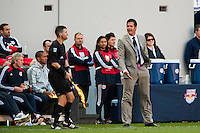 New York Red Bulls head coach Mike Petke. The New York Red Bulls and the Columbus Crew played to a 2-2 tie during a Major League Soccer (MLS) match at Red Bull Arena in Harrison, NJ, on May 26, 2013.
