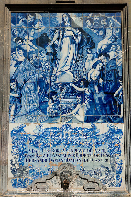 An azulejo ceramic tilework depicting the virgin mary with for Azulejos cordoba