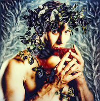 Bacchus or Dionysus - god of wine. Polaroids SX-70 print enhanced by hand.