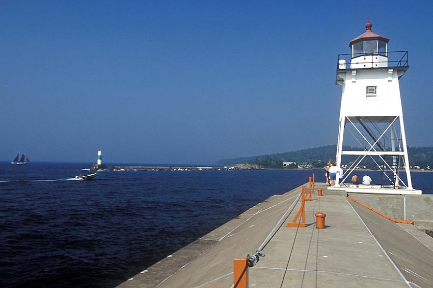 The Lake Superior harbor town of Grand Marais Minnesota on the Minnesota North Shore.