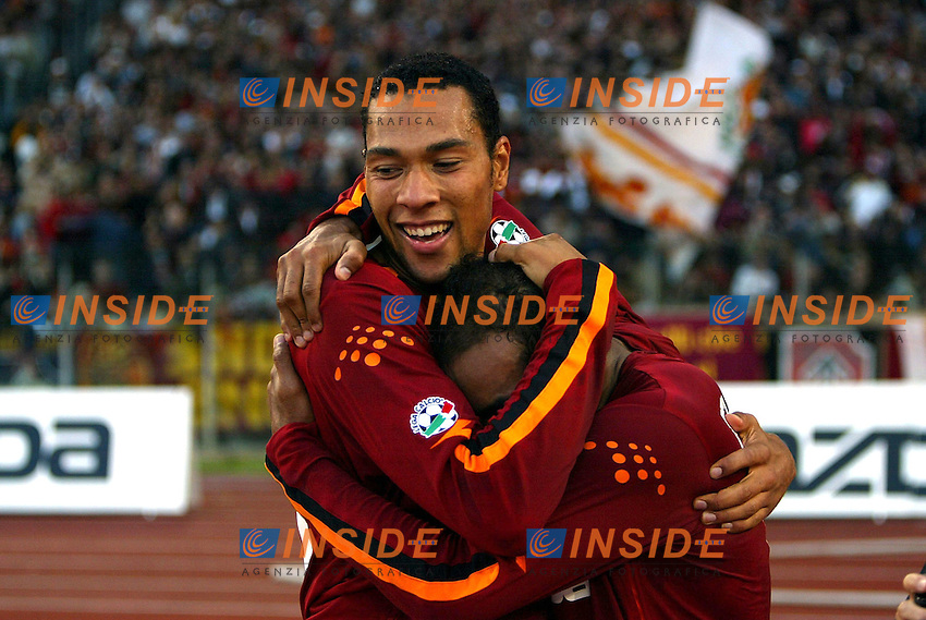 Roma 2/11/2003 <br /> Roma Reggina 2-0 <br /> John Carew (Roma) celebrates his goal with Emerson Ferreira (Right)<br /> Foto Andrea Staccioli Insidefoto