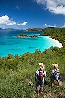 Hikers overlooking Trunk Bay<br />