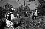 barwaiz raghzai hills, south waziristan, pakistan april 2004: tribal militiamen on morning patrol in hills they suspect hold al qaeda hideouts<br />
