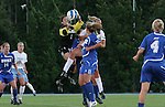 11 October 2007: Duke's Allison Lipsher (1) grabs the ball in a crowd. The University of North Carolina Tar Heels defeated the Duke University Blue Devils 2-1 at Fetzer Field in Chapel Hill, North Carolina in an Atlantic Coast Conference NCAA Division I Women's Soccer game.