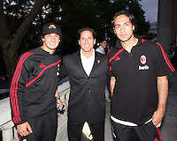 Randy Rocha of DC United flanked by Pato and Alessandro Nesta at a reception for AC Milan at DAR Constitution Hall in Washington DC on May 24 2010.