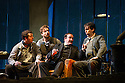 London, UK. 27.10.2014. Jonathan Miller's production, for English National Opera, of LA BOHEME, by Giacomo Puccini, opens at the London Coliseum. Rising star soprano, Angel Blue, makes her role debut as Mimi. Picture shows: George von Bergen (Marcello), George Humphreys (Schaunard), Andrew Shore (Benoit), David Butt Philip (Rodolfo). Photograph © Jane Hobson.