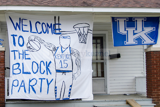 Kentucky fans hang banners on their houses during March Madness to support the Wildcats in Lexington, Kentucky.  Photo by Taylor Pence | Staff
