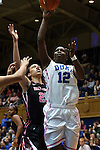 17 February 2013: Duke's Chelsea Gray (12) and Wake Forest's Dearica Hamby (25). The Duke University Blue Devils played the Wake Forest University Demon Deacons at Cameron Indoor Stadium in Durham, North Carolina in a 2012-2013 NCAA Division I and Atlantic Coast Conference women's college basketball game. Duke won 81-70.