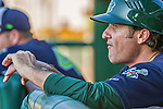1 September 2014: Vermont Lake Monsters Manager David Newhan watches play from the dugout during the season's Labor Day finale against the Tri-City ValleyCats at Centennial Field in Burlington, Vermont. The ValleyCats defeated the Lake Monsters 3-2 in NY Penn League action. Mandatory Credit: Ed Wolfstein Photo *** RAW Image File Available ****
