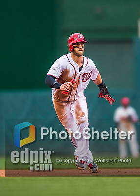 28 April 2016: Washington Nationals outfielder Bryce Harper takes a lead off second during a game against the Philadelphia Phillies at Nationals Park in Washington, DC. The Phillies shut out the Nationals 3-0 to sweep their mid-week, 3-game series. Mandatory Credit: Ed Wolfstein Photo *** RAW (NEF) Image File Available ***