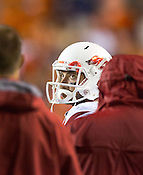 HAWGS ILLUSTRATED JASON IVESTER --08/30/2014--<br /> Arkansas junior quarterback Brandon Allen drops looks up to the scoreboard from the sideline during the fourth quarter on Saturday, Aug. 30, 2014, against Auburn at Jordan-Hare Stadium in Auburn, Ala.