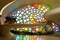 Kitchen table at the unusual shell-shaped house built by Senosian Arquitectos in 2005. Naucalpan, Estado de Mexico, Mexico. Monday, March 31, 2008
