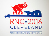 Logo of the 2016 Republican National Convention in Cleveland, Ohio on Friday, July 15, 2016.<br /> Credit: Ron Sachs / CNP<br /> (RESTRICTION: NO New York or New Jersey Newspapers or newspapers within a 75 mile radius of New York City)