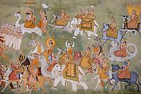 Mehrangarh Fort Hindu mural at Jaypol Gate in Jodhpur in Rajasthan, Northern India