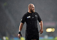 Ben Franks of New Zealand looks on during a break in play. Rugby World Cup Semi Final between South Africa and New Zealand on October 24, 2015 at Twickenham Stadium in London, England. Photo by: Patrick Khachfe / Onside Images