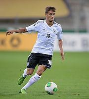 FUSSBALL INTERNATIONAL Laenderspiel Freundschaftsspiel U 21   Deutschland - Frankreich     13.08.2013 Moritz Leitner (Deutschland) am Ball
