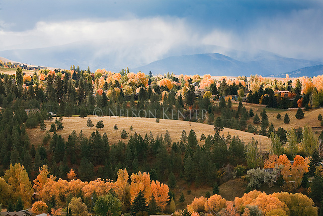 Sunshine on hills on the south side of Missoula, Montana on a fall day