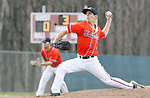WOLCOTT CT. 17 April 2017-041517SV07-#2 Steve Phillips of Watertown High pitches to Wolcott High in the 3rd inning during NVL baseball action in Wolcott Monday. <br /> Steven Valenti Republican-American
