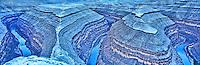 Goosenecks in snow, San Juan River, Goosenecks State Preserve, Utah