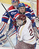 Connor Hellebuyck (UML - 37), Gregory Amlong (UML - 22), Austin Cangelosi (BC - 26) - The Boston College Eagles defeated the visiting University of Massachusetts Lowell River Hawks 3-0 on Friday, February 21, 2014, at Kelley Rink in Conte Forum in Chestnut Hill, Massachusetts.