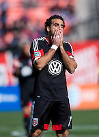 Dwayne De Rosario (7) of D.C. United reacts to a missed chance on goal during the game at RFK Stadium in Washington, DC.  Columbus Crew defeated D.C. United, 2-1.