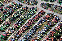 aerial photograph used combine haresters farm equipment salvage yard Colfax Tractor Parts, Colfax, Iowa