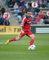 Chicago midfielder Daniel Paladini (11) prepares to kick the ball.  The Chicago Fire defeated the New York Red Bulls 3-1 at Toyota Park in Bridgeview, IL on April 7, 2013.