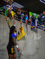 Fans greet Ma'a Nonu as he runs out to warm up for the Super Rugby match between the Hurricanes and Stormers at Westpac Stadium, Wellington, New Zealand on Friday, 2 April 2015. Photo: Dave Lintott / lintottphoto.co.nz