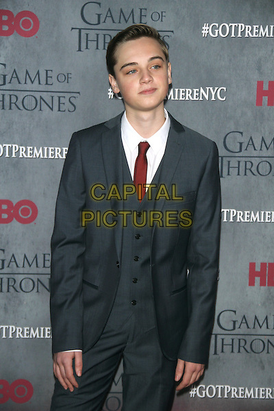 NEW YORK, NY - MARCH 18: Dean-Charles Chapman at the 'Game Of Thrones' Season 4 New York premiere at Avery Fisher Hall, Lincoln Center on March 18, 2014 in New York City.  <br /> CAP/MPI/RW<br /> &copy;RW/MPI/Capital Pictures