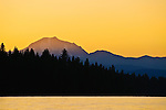 Sunset on Mount Lassen, with Lake Almanor in the foreground, Chester, California.