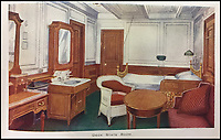 BNPS.co.uk (01202 558833)<br /> Pic: HAldridge/BNPS<br /> <br /> The deck state room.<br /> <br /> Incredibly rare illustrations and photos of the opulent surroundings of the Titanic have come to light in two brochures which describe the doomed ship as 'practically unsinkable.'<br /> <br /> The colour drawings depict the plush accommodation and facilities that first and second class passengers enjoyed on the luxury liner.<br /> <br /> They offer rare glimpses of the promenade deck, reading room, swimming baths, smoking room, main staircase, the Turkish bath, state room and parlour suit accommodation, dining room and reception room.<br /> <br /> Alongside the images there is an equally scarce copy of the sailing schedule for the doomed ship, highlighting its 'lost' trans-Atlantic service.<br /> <br /> The itinerary shows the Titanic would have gone on to make four trips from Southampton to New York between April to July 1912 had it not sunk on its maiden voyage with the loss of 1,522 lives.<br /> <br /> The two brochures and sailing schedule have now been put up for sale 105 years after the tragedy. They have a pre-sale estimate of a combined &pound;20,000.