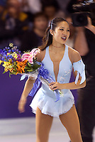 "Michelle Kwan of USA wins gold in October, 2001 during early warm-up competition called ""Masters of Figure Skating"", before Salt Lake City 2002 Olympics . (Photo by Tom Theobald)"