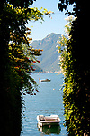 Looking out at boats on Lake Como, Italy from the town of Sala Comacina