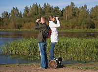 Young Couple Bird Watching, Tartu County, Estonia