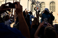 Los Angeles, California, October 23, 2011 - Activist Van Jones speaks to protesters of Occupy LA from the steps of City Hall in Los Angeles. As Co-Founder and President of Rebuild the Dream, Jones is working on grassroots efforts to mobilize the left and hoping to find traction in the Occupy Wall Street Movement. Occupy LA is part of the larger Occupy Wall Street Movement which began this summer in Zuccotti Park in the Wall Street Financial District. Their protest is focused on social and economic inequality, corporate greed and its influence on government. Their slogan &quot;We are the 99%&quot; refers to the divide wealth distribution, where 1% of Americans control over 40% of the wealth in the country. <br /> <br /> Van Jones served as the green jobs advisor in the Obama White House in 2009 until resigning amid controversy over comments he made while an activist. He also holds a joint appointment at Princeton University as a distinguished visiting fellow in both the Center for African American Studies and in the Program in Science, Technology and Environmental Policy at the Woodrow Wilson School of Public and International Affairs.