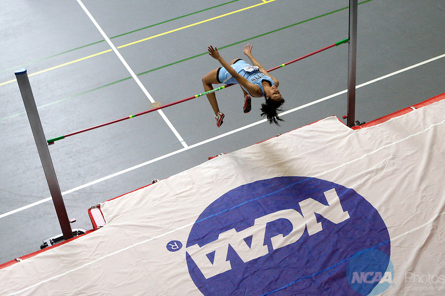 12 MAR 2011: Dayorsha Collins of Tufts University high jumps during the Division III Men's and Women's Indoor Track and Field Championships held at the Capital Center Fieldhouse on the Capital University campus in Columbus, OH.  Jay LaPrete/NCAA Photos