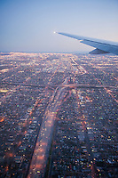 Commercial Airplane, Wing Tip, Sunset Sky, Dusk, Twilight, near Landing, Los Angeles, CA