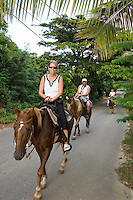 Riders on horseback<br /> Coral Bay Corral<br /> Coral Bay, St. John<br /> U.S. Virgin Islands