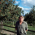 Julian Temperley of the Cider Brandy Company in Kingsbury Episcopi standing next to one of his orchards. .Julian uses Kingston Black apples for most of his cider production but mixes in other varieties for flavour.