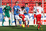 St Johnstone v Stranraer...01.11.15   Little Big Shot Youth Cup 3rd Round, McDiarmid Park, Perth<br /> Aaron Comrie blocks Kier Samson<br /> Picture by Graeme Hart.<br /> Copyright Perthshire Picture Agency<br /> Tel: 01738 623350  Mobile: 07990 594431