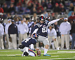 Ole Miss kicker Bryson Rose (81) kicks a field goal vs. Louisiana-Lafayette in Oxford, Miss. on Saturday, November 6, 2010. Ole Miss won 43-21.