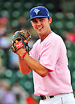 "18 July 2010: Vermont Lake Monsters pitcher Matt Swynenberg warms up prior to a game against the Staten Island Yankees at Centennial Field in Burlington, Vermont. The Lake Monsters, dressed in their Breast Cancer Awareness ""Pinks"", fell to the Yankees 9-5 in NY Penn League action. Mandatory Credit: Ed Wolfstein Photo"