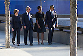 United States President Barack Obama, First Lady Michelle Obama, former U.S. President George W. Bush, and former First Lady Laura Bush visit the North Memorial Pool at Ground Zero on the 10th anniversary of the September 11 terrorist attacks in New York, New York on September 11, 2011. The President and First Lady are attending the Commemoration Ceremony at the National September 11 Memorial at the World Trade Center Site as they visit each of the three sites that were attacked..Credit: Kristoffer Tripplaar / Pool via CNP
