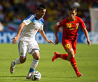 Eden Hazard of Belgium and Aleksandr Samedov of Russia