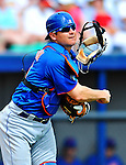 10 March 2012: New York Mets catcher Rob Johnson in action during a Spring Training game against the Washington Nationals at Space Coast Stadium in Viera, Florida. The Nationals defeated the Mets 8-2 in Grapefruit League play. Mandatory Credit: Ed Wolfstein Photo