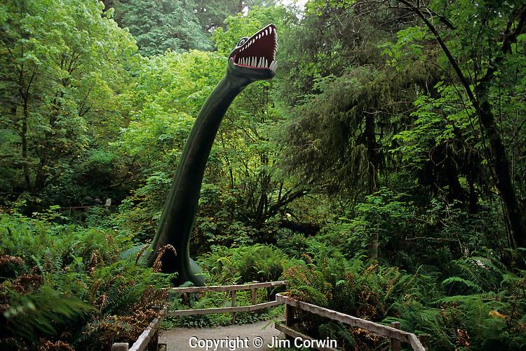 Prehistoric Gardens along the Oregon coast Elasmosaurs along tour trail Port Orford Oregon State USA