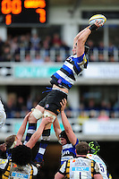 Luke Charteris of Bath Rugby wins the ball at a lineout. Aviva Premiership match, between Bath Rugby and Wasps on March 4, 2017 at the Recreation Ground in Bath, England. Photo by: Patrick Khachfe / Onside Images