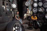 Tyre shop by Jama Masjid in Old Delhi
